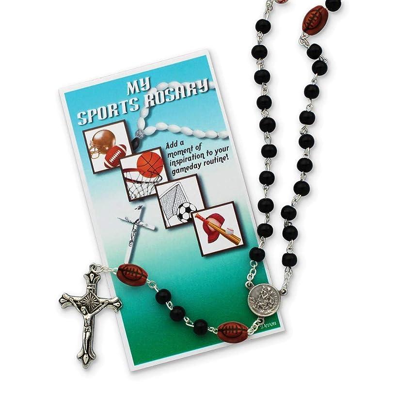 FB Jewels Solid Boys Black Football Sports Rosary