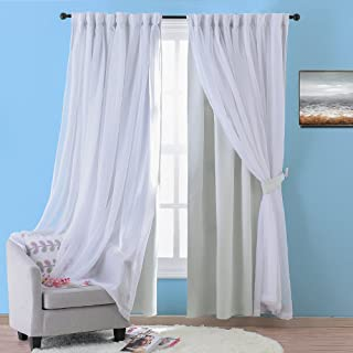 NICETOWN Double Layers Light Blocking Mix & Match Elegance White Crinkled Voile and Noise Reducing Blackout Curtain with 2 Tie-Backs (1 2-Layer Drape, W52 x L63, Platinum)