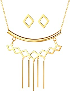 Lariat Jewelry 3 Layers Multilayer 18K Gold Plated Charm Lariat Lock Heart Cross Star of David Evil Eye Hand of Fatima Pendant Stainless Steel Y Necklace Stud Earring Jewelry Set
