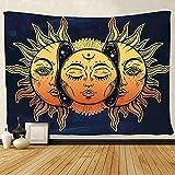 GenericBrands Soleil et Lune Tapisserie Soleil brûlant avec Tissu de Fond d'étoile Tissu Suspendu de Maison Tapis de Plage européen et américain