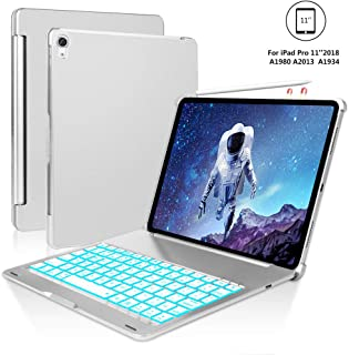 iPad Pro 11 Case for iPad Pro 11 inch 2018 with Keyboard, 7 Colors Backlight, Auto Sleep/Wake, Wireless Buletooth Connect, iPad Pro Keyboard 11, Pencil Charging, Silver