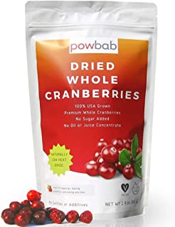 powbab Dried Cranberries Unsweetened - 100% USA Grown Organic Dried Cranberries. No Sugar Added, No Oil, No Apple Juice Co...