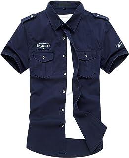 Gihuo Men's Short Sleeve Military Button Down Cargo Shirt