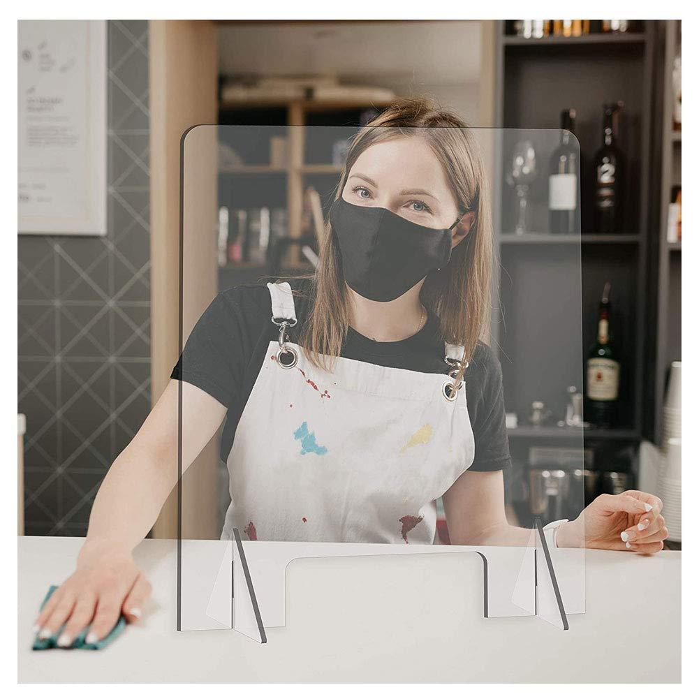 Douer Mampara Protección Oficina, Mampara Metacrilato Mostrador, Transparente Protectora con Soporte, contra Estornudos Y Tos, para Ventillas De Transacciones,120×48cm/47×19