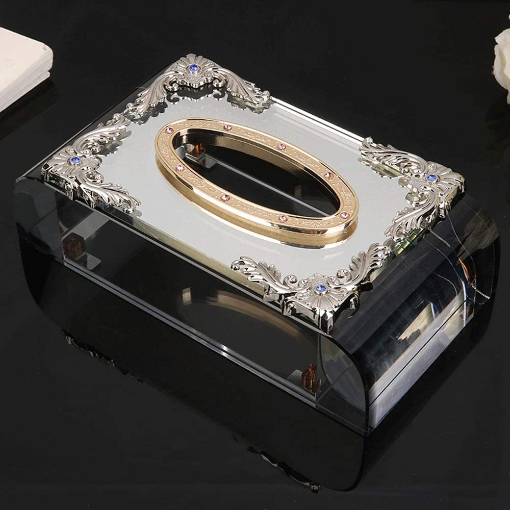 AERVEAL Max 79% OFF Paper Holder Quality inspection Tissue Box Glass Crystal Holde Cover Napkin