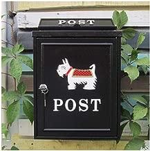 HTDZDX European Classical Villa Mailbox Pastoral Retro Wall Letter Box Waterproof Outdoor Thicker Post Mailbox with Lock (Color : Schnauzer Black)