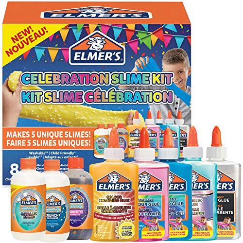 Elmer\'s kit para hacer slime de fiesta, incluido surtido de soluciones activadoras de líquido mágico de slime y surtido de pegamentos líquidos, 8unidades
