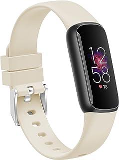 TopPerfekt Bandjes compatibel met Fitbit Luxe, vrouwen mannen grote kleine formaat zachte siliconen vervanging sport polsb...