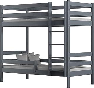 Children's Beds Home - Lits superposés en bois massif – Theo pour enfants – Taille 180 x 80 cm, couleur gris, deux petits ...