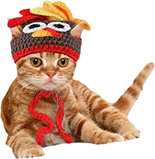 OOEOO Christmas Cat Costume Pet Turkey Hat Thanksgiving Apparel for Cats Small Dogs Turkey Dog Headband Party Gift Cats Hat
