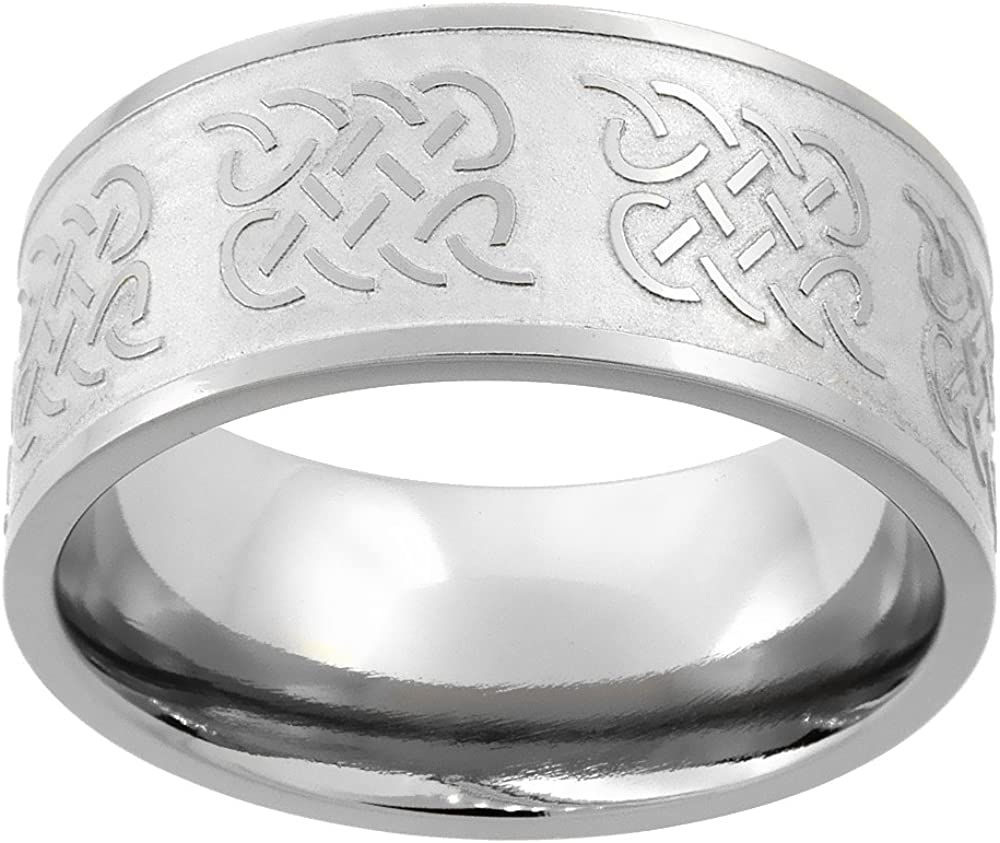 Sabrina In Popular brand in the world a popularity Silver Titanium 10mm Wedding Flat Ring Band Knot Celtic