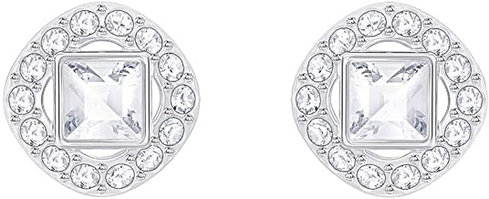 Swarovski Crystal White Angelic Square Rhodium-Plated Earrings