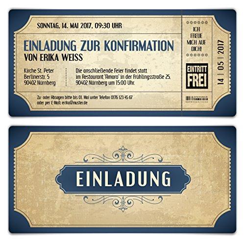 Konfirmation Einladungskarten (30 Stück) - Vintage Eintrittskarten in Blau - Konfirmationskarten Einladung