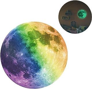 Vosarea 1 PCS 30cm Diammeter Creative Glow in The Dark Full Moon Wall Stickers Light Luminous Wall Art Decals for Kids Boy...