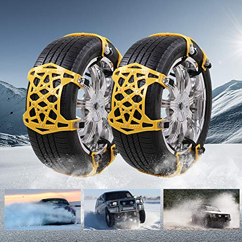soyond Car Tire Snow Chains - Premium Quality Strong Durable All Season Anti-Skid Car, SUV, and Pick Up Patterned Tire Chains for Emergencies and Road Trip (Yellow)