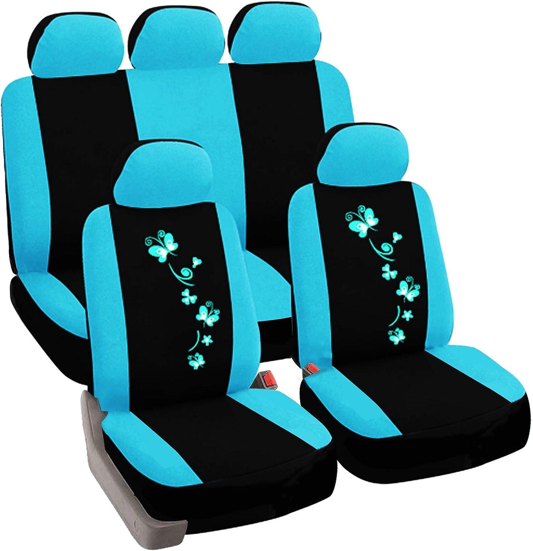 Esituro Auto Schonbezug 11 Teillige Sitzbezüge Für Auto Mit Schmetterling Universal Schwarz Blau Scsc0060 Auto