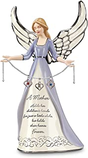 A Mother`s Heart Birthstone Charm Angel Figurine: Personalized Gift for Mom by The Bradford Editions