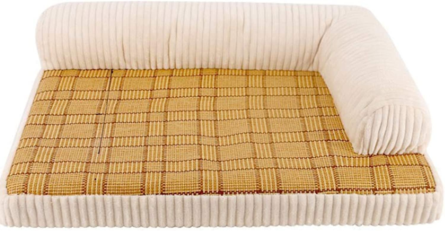 QNMM Summer dog bed sofa mat seat can be placed on both sides of the rattan mat sofa removable and washable bite resistant tear pad (rice white),S