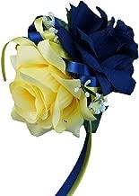 Angel Isabella Wrist Corsage - Navy Blue,yellow, Rose Baby Breath Silk Faux Flower
