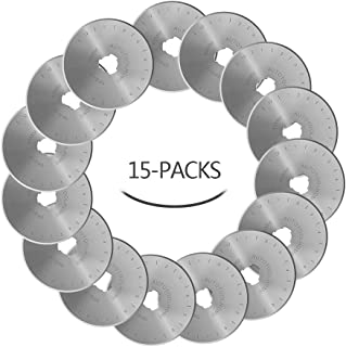 AUTOTOOLHOME 45mm Rotary Cutter Blades 15 Pack Replacement Rotary Blade Quilting Scrapbooking Sewing Arts Crafts,Sharp and Durable