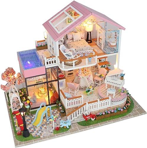 Faire semblant de jouer à des jouets Faits à la main mots doux sans couvercle assemblé modèle de cabine bricolage grande villa en bois cadeaux de maison de poupées en bois avec des meubles et accessoi