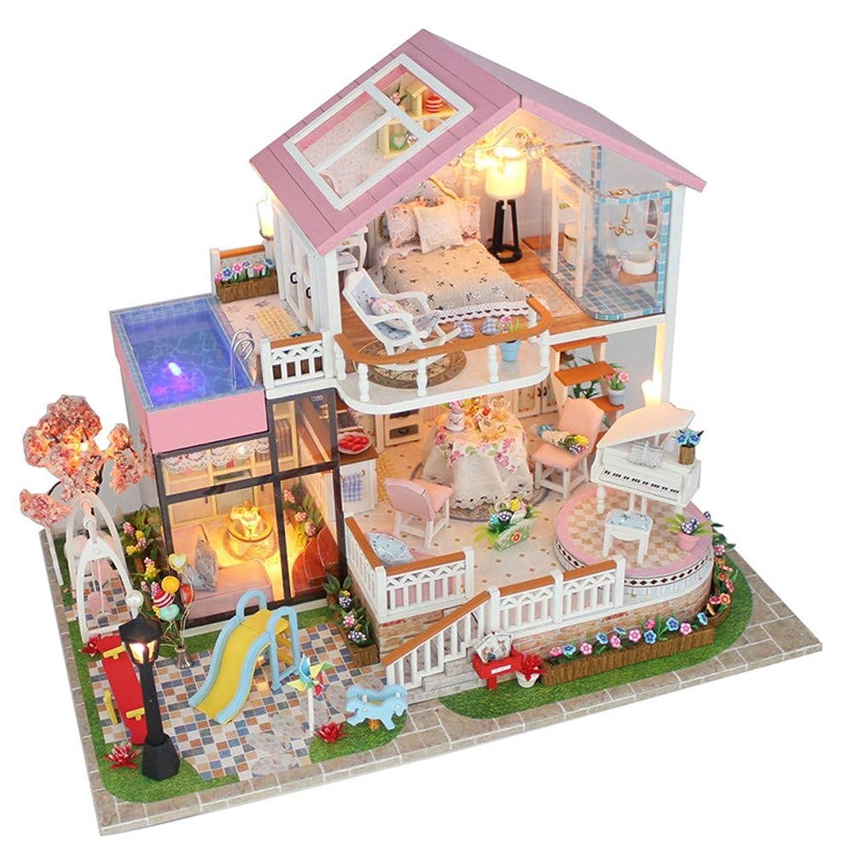 スカートボア無意味DIY ドールハウス ミニハウスリフォームdiyドールハウス手作り甘い言葉カバーなしdiyキャビンモデル大ヴィラ木のおもちゃギフト人形家で家具とアクセサリー、女の子のための教育玩具 入園祝い 新年 ギフト
