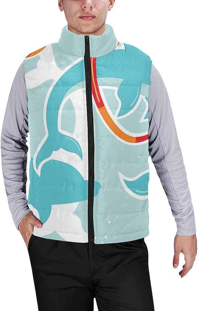 InterestPrint Men's Full-Zip Soft Warm Winter Outwear Vest Pitahaya Bananas Flowers Leaves