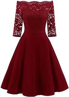 7e3a3831937 OHQ Robe en Dentelle pour Une Dame Noir Rouge Marine Femmes New Vintage  Femme Chic Soiree