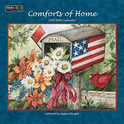 """Wells Street by LANG - 2018 """"Comforts of Home"""" Wall Calendar - Artwork by Susan Winget - 12 x 12"""