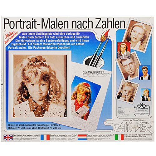 Bastelset / Malset - Schipper Portrait - Malen nach Zahlen - eigenes Bild / Foto - braun-beige - mit Rahmen - 25 cm x 30 cm - jeder kann zeichnen - Male Deine..