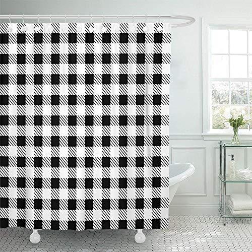 NOBRAND Bruin Wit Zwart Patronen Tafelkleden Stijlvol Ontwerp Geometrische Traditionele voor Kleurrijke Tartan Douche Gordijn Waterdicht Met Haken - W150xH180cm