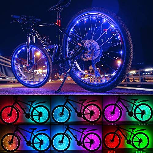 Evaduol Bike Wheel Lights, USB Bike Tire Lights Colors 7 in 1,Safety at Night,9 Modes Change Waterproof LED Bike Light for Wheels, USB Rechargeable (1 Pack)