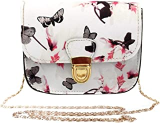 Wultia - Bags New Hot Sale Women Butterfly Flower Printing Handbag Shoulder Bag Tote Messenger Bag Hight Quality #T08 White