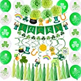 St Patricks Day Decorations, 64 Pcs Green Lucky Irish Party Supplies Accessories, Shamrock Balloon, Banner, Tissue Paper Pom Poms, Hanging Swirl, Paper Tassels