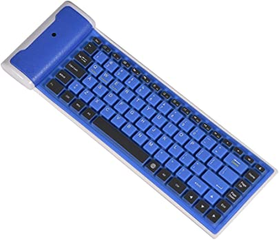 Mugast Faltbare Silikon-Tastatur Wasserdichte weiche Ultrad nn Mini Wireless Bluetooth Tastatur Flexibel Kabellose Faltbare Tastatur Umweltfreundlich Silikagel Keyboard f r Laptop PC Tablet Blau