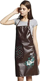 SEIFINI Premium PU Kitchen Aprons for Women with Pocket, Oil and Waterproof Apron for Dishwashing, Cooking, Grilling, Lab ...