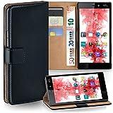 MoEx Premium Book-Hülle Handytasche passend für Wiko Ridge 4G | Handyhülle mit Kartenfach & Ständer - 360 Grad Schutz Handy Tasche, Schwarz