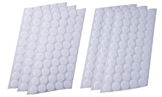 Mini Skater 300Pcs (150 Pairs) 20 mm/0.78 Inch Diameter Self Adhesive Nylon Sticky Back Coins Hook Loop Strips Fastener Round Dot Stickers Tapes for Hanging Sewing Clothing Kids Crafts (White)