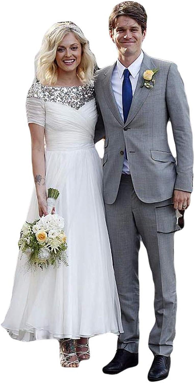 Liyuke Women's Aline Ankle Length Vintage Wedding Dresses Pleated Beaded Bridal Dress