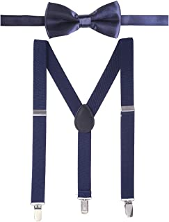 Suspenders for Kids and Bow Tie Set Adjustable Leather Toddler Baby Suspenders for Boys and Girls