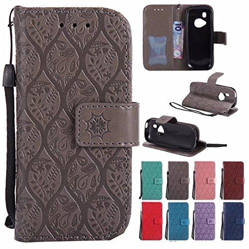 Laybomo Handyhülle für Nokia 3310 (2017) hülle Tasche Leder Beutel Weich Silikon TPU Flip Cover [Bilderrahmen] Stehen Magnetisch Schutzhülle Hülle Schale Tasche für Nokia 3310, Reben Streifen (Grau)