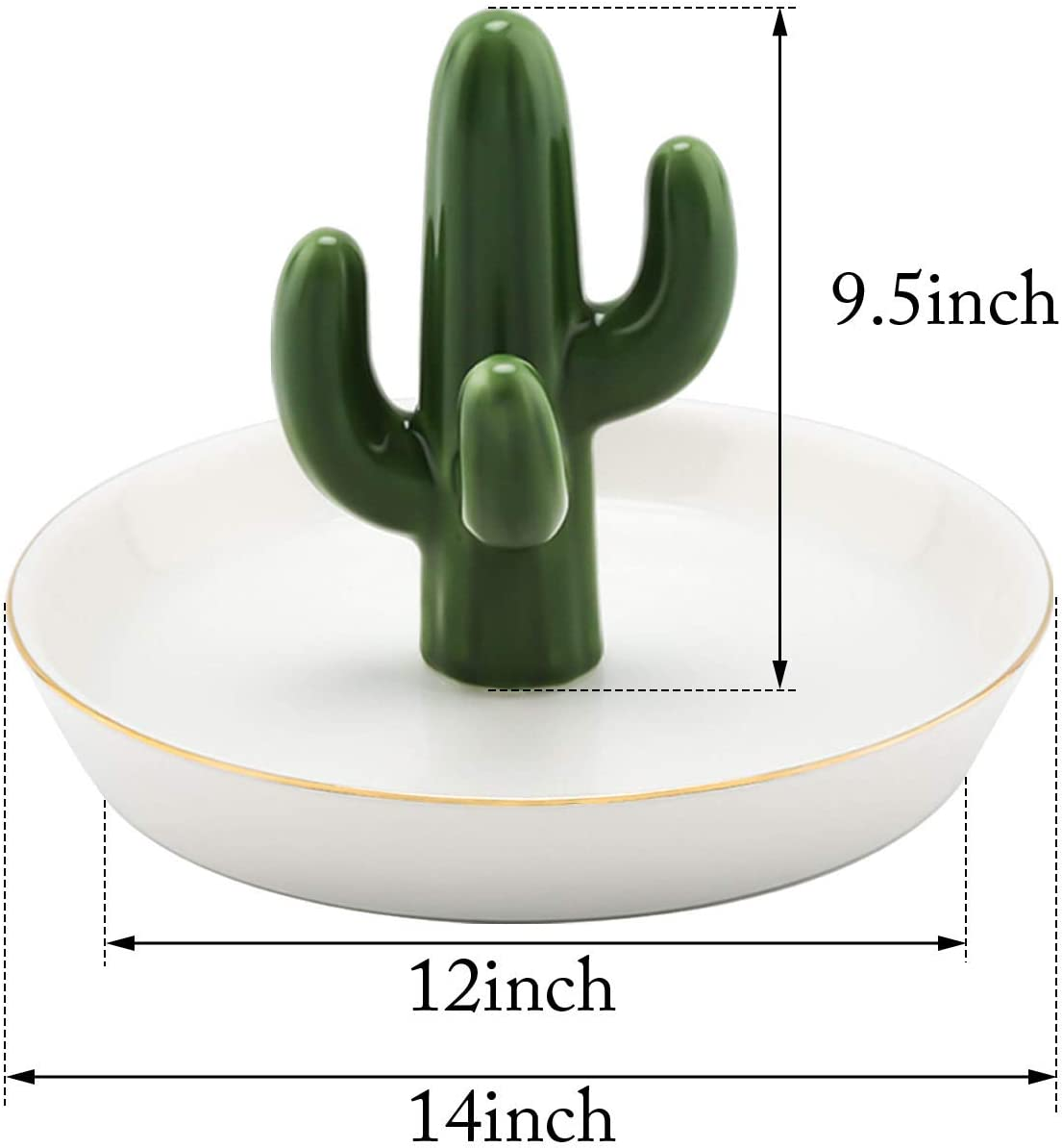 Cactus, 10inch Trinket Tray//Dish Ring Ceramic Ring Holder with Derorative White Dish Ceramic Cactus Ring Holder Green /& White Bracelet Great for Wedding Ring Jewelry Mother`s Day Girl Friend