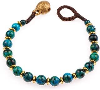 Chuvora Brass and Genuine Semi-Precious Gemstones Beaded Bracelet