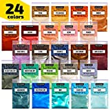 Epoxy Resin Dye – Mica Powder – 24 Powdered Pigments Set – Soap Dye – Hand Soap Making Supplies – Eyeshadow and Lips Makeup Dye – Slime Pigment