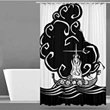 Polyester Shower Curtain,Nordic,Abstract Artwork of a Viking Chief Being Burned on a Longboat Norse Mythology,Shower stall Curtain,W48x72L Black and White