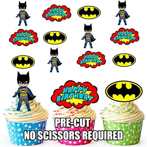 Vorgeschnittene Batman Superheld Geburtstag Packung - Essbare Cupcake Topper / Kuchendekorationen (12 Stück)