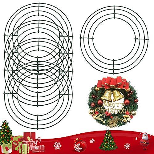 BUZIFU Bases para Coronas Decorativas, 5 unidades, Corona de Alambre, Bases para Coronas de Navidad, Diámetro de 8 pulgadas/20 cm, Anillos de Corona Verdes, para Agregar Ramas, Frutos, Lazos o Bolas