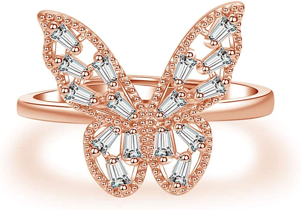 Flzaitian Cubic Zirconia Butterfly Ring Sparkling Crystal Bow-Knot Knuckle Ring Wedding Jewelry for Women and Girls