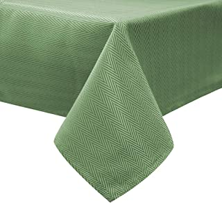 Lahome Solid Color Herringbone Pattern Tablecloth - Water Resistant Table Cover for St. Patrick's Day Kitchen Dining Room Restaurant Party Decoration (Green, Rectangle - 60