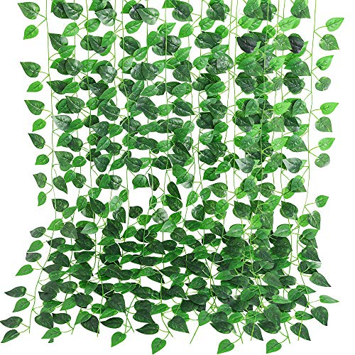 Luyue 12 Pack 86ft Artificial Greenery Garland Vine Fake Ivy Hanging Plant Leaves Faux Green Wall Decor Home Kitchen Indoor Outdoor Wedding Decoration-Scindapsus Leaves
